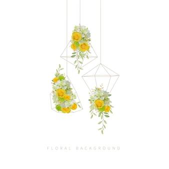 Bloemenachtergrond met rozen en hortensia in terrarium