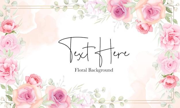 Bloemenachtergrond met zacht bloem en bladerenontwerp