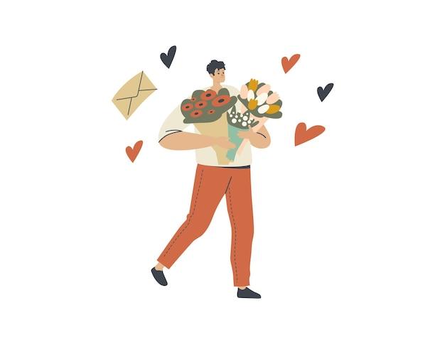Bloemenbezorger mannelijk personage draagt prachtige boeketten die naar klanten brengen