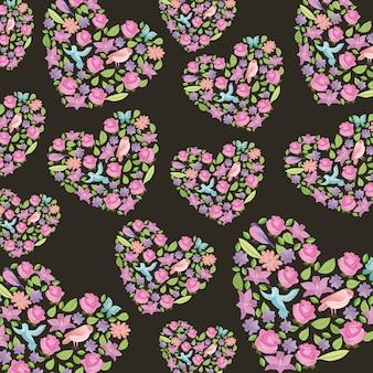 Bloemenbladeren en vogels gevormd hartenpatroon