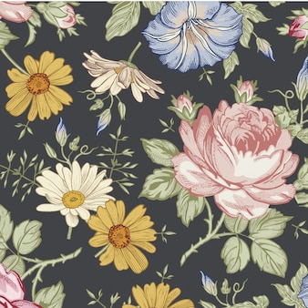 Bloemenbladeren naadloos patroon vectormalplaatje als achtergrond