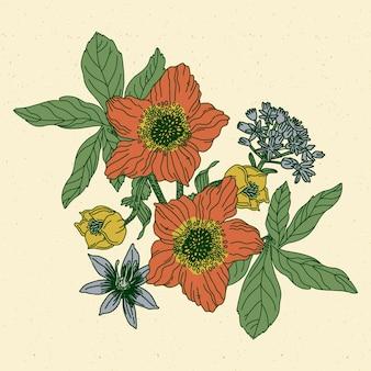 Bloemenboeket in retrostijl