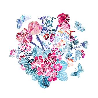 Bloemenboeket met de textuur van de alcoholinkt op achtergrond