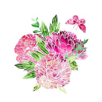 Bloemenboeket met pioenrozen en vlinder