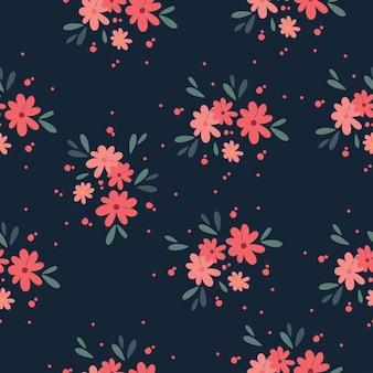 Bloemenboeket vectorpatroon met kleine bloemen en bladeren