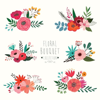 Bloemenboeketinzameling met zes verschillende die regelingen op witte achtergrond worden geïsoleerd