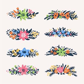 Bloemenboeketten grenzen retrostijl bloemen