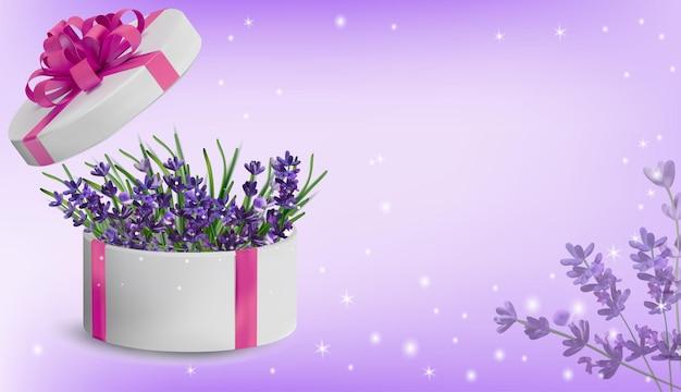 Bloemencollectie lavendel in de geschenkdoos. love concept, moederdag, vrouwendag. achtergrond