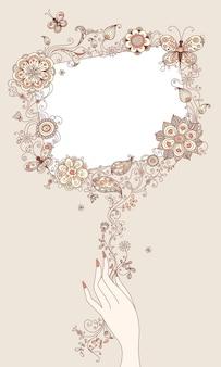 Bloemenelementen en leeg frame voor uw tekst.