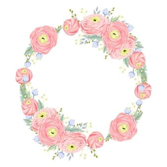Bloemenframe achtergrond met ranunculus bloem