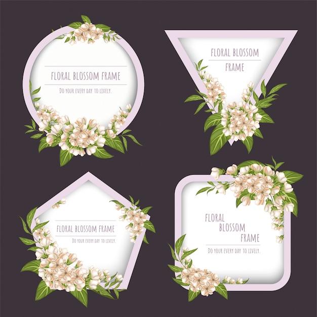 Bloemenframe-collectie voor uitnodigingskaarten en afbeeldingen.