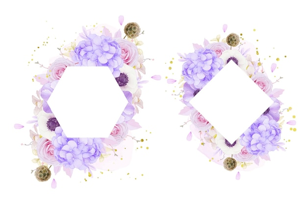 Bloemenframe met aquarel roze rozen