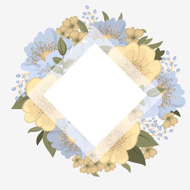 Bloemengrensachtergrond - lichtblauwe bloemen
