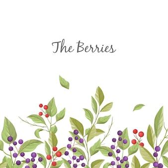 Bloemengroetkaart met bladeren, takken en bessen op witte achtergrond.