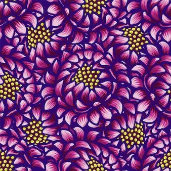 Bloemenhand getrokken uitstekend naadloos patroon met bloemen.