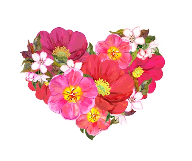 Bloemenhart met rode en roze bloemen. vector voor dag van de valentijnskaart
