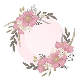 Bloemenhuwelijk - roze bloemenkroon Gratis Vector