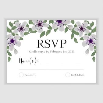 Bloemenhuwelijk rsvp antwoordkaart
