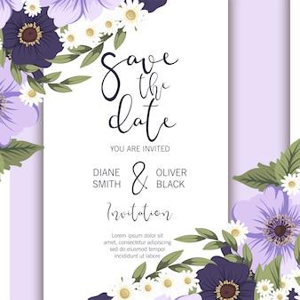 Bloemenhuwelijksmalplaatje - paarse bloemenkaart
