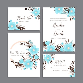 Bloemenhuwelijkssjabloon - lichtblauwe bloemenkaarten