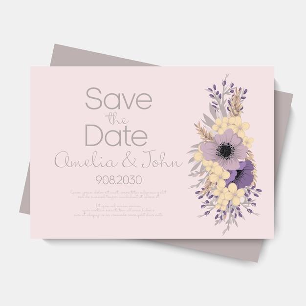 Bloemenhuwelijkssjabloon - purpere bloemenkaart