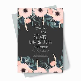 Bloemenhuwelijkssjabloon - roze bloemenkaart