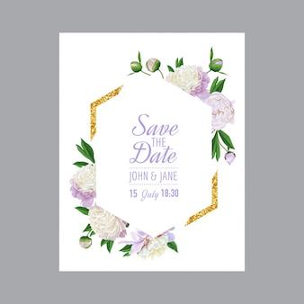 Bloemenhuwelijksuitnodiging bewaar de datumkaart