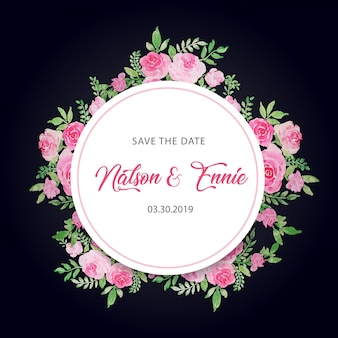 Bloemenhuwelijksuitnodiging bewaart de datum