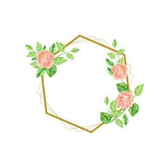 Bloemenhuwelijksuitnodiging elegant met gouden geometrisch kader