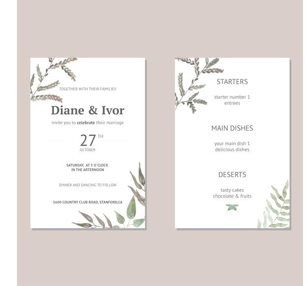 Bloemenhuwelijksuitnodiging in waterverf