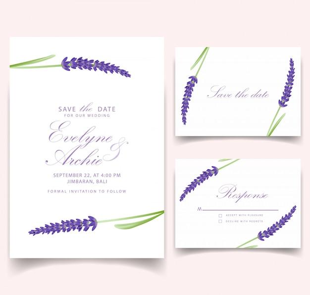 Bloemenhuwelijksuitnodiging kaartsjabloon design met lavendel bloemen.