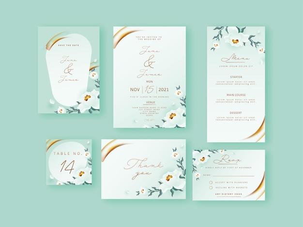 Bloemenhuwelijksuitnodiging, menu, bewaar de datum, tafelnummer, vriendelijk antwoord of rsvp en bedankkaart