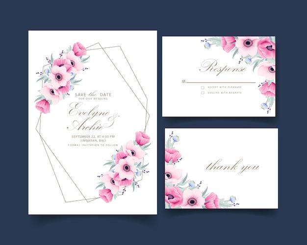 Bloemenhuwelijksuitnodiging met anemoon en papaverbloemen
