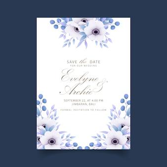 Bloemenhuwelijksuitnodiging met anemoonbloemen