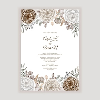 Bloemenhuwelijksuitnodiging met bruine karamelbloemdecoratie Premium Vector