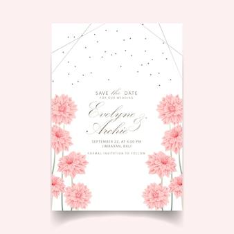 Bloemenhuwelijksuitnodiging met dahliabloem