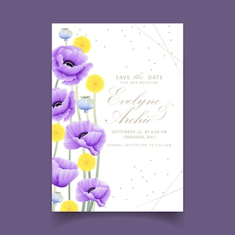 Bloemenhuwelijksuitnodiging met eucalyptus, papaver, anemoon en craspediabloem