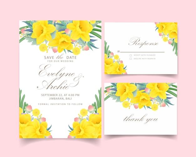 Bloemenhuwelijksuitnodiging met gele narcissenbloem