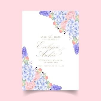 Bloemenhuwelijksuitnodiging met hydrangea hortensia