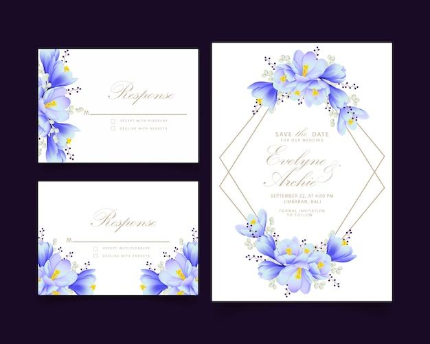 Bloemenhuwelijksuitnodiging met krokusbloemen