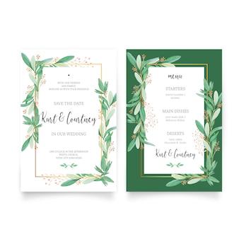 Bloemenhuwelijksuitnodiging met menumalplaatje