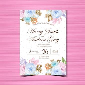 Bloemenhuwelijksuitnodiging met mooie bloemen