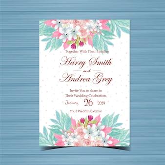 Bloemenhuwelijksuitnodiging met mooie roze rozen
