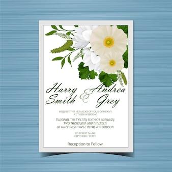Bloemenhuwelijksuitnodiging met mooie witte bloemen