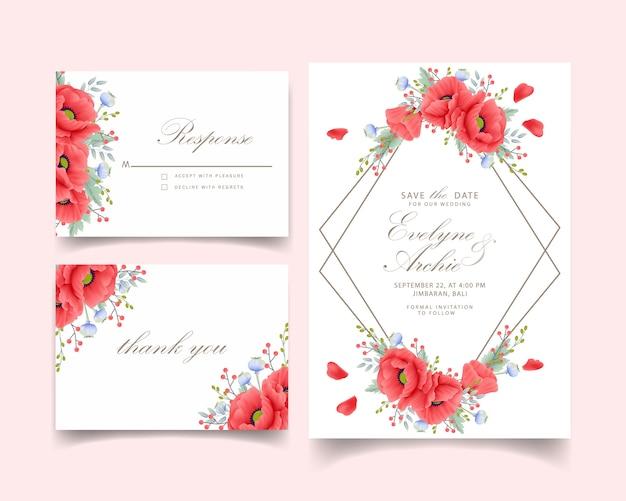 Bloemenhuwelijksuitnodiging met papaverbloem