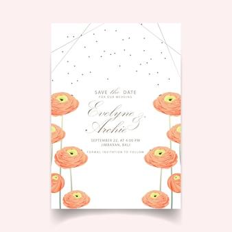 Bloemenhuwelijksuitnodiging met ranunculus bloem