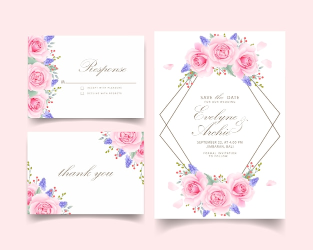 Bloemenhuwelijksuitnodiging met roze roze en muscaribloem