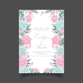 Bloemenhuwelijksuitnodiging met succulent rozenbloem en