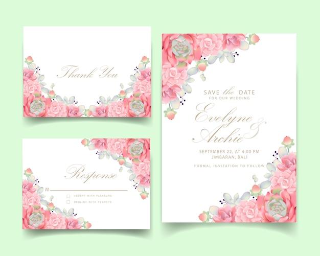 Bloemenhuwelijksuitnodiging met succulent