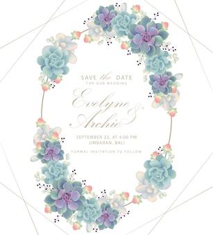 Bloemenhuwelijksuitnodiging met succulents